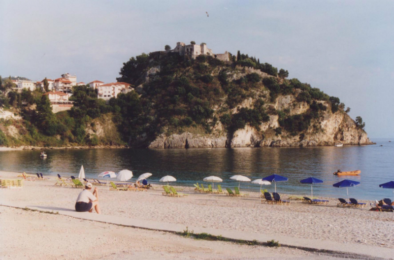Beach next to Parga, with crusader castle on top