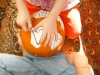 Use a large safety pin or pinwheel, to mark the pumpkin skin underneath,