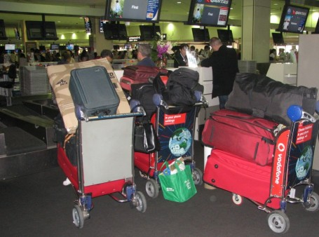 Checkin chaos at Qantas as we leave Australia for New Jersey, USA.