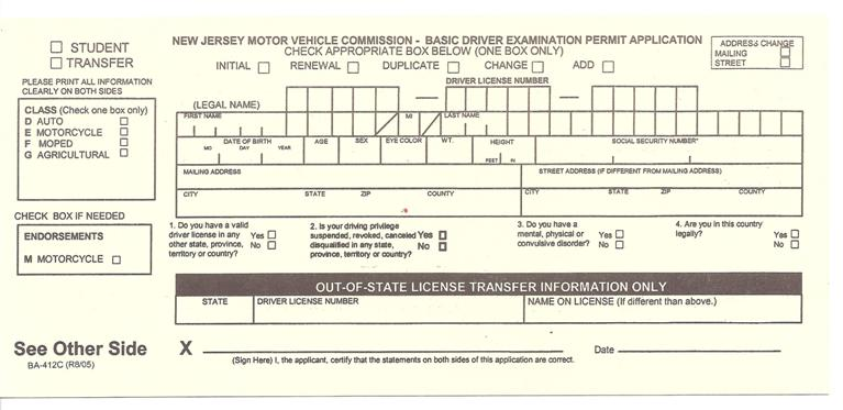 Nj dmv car registration renewal form