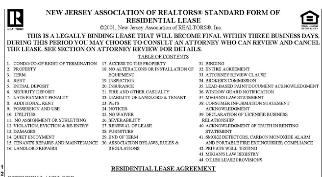 1 Year Lease Agreement Nj