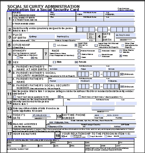 Completed Social Security Sample Application Form