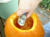 Use a large spoon or ice-cream scoop to clean the pumpkin out.