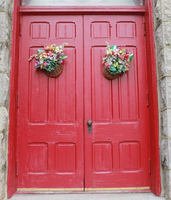 Church door flowers in Flemington NJ