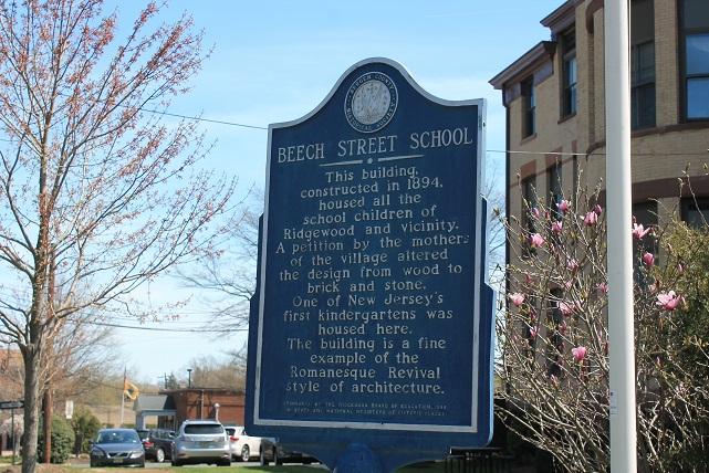 Historic sign outside BOE building Ridgewood