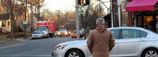 NJ driver goes through crossing to turn right