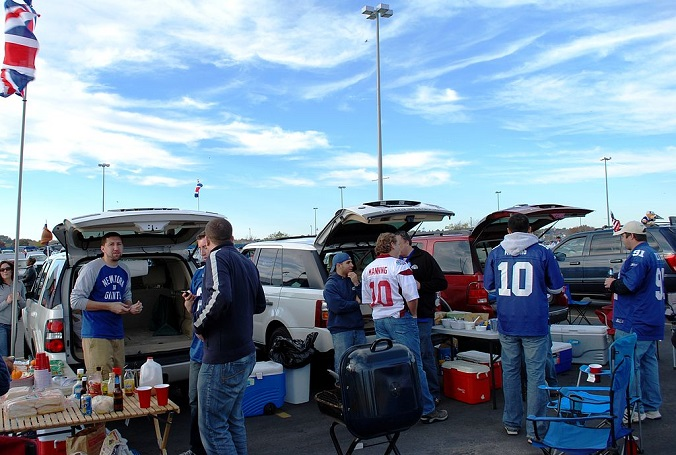 tailgate party in the US outside a football game